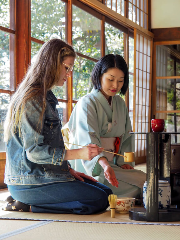 Student attending Japanese tea ceremony