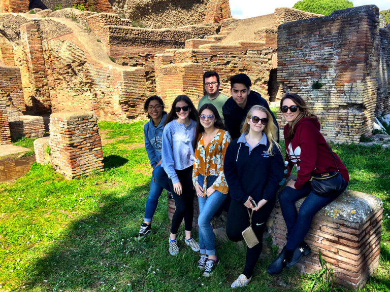 Group among ruins in Venice