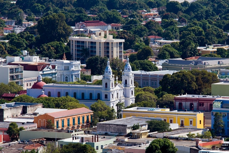 Overlook of cathedral in Ponce Puerto Rico