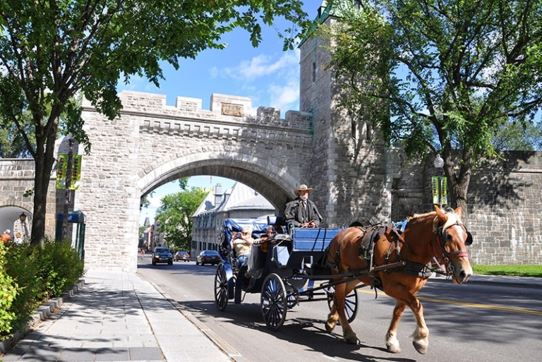 Horse Carriage in front of St. Louis Gate in Quebec