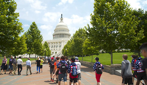 ACIS USA group walking towards capitol building