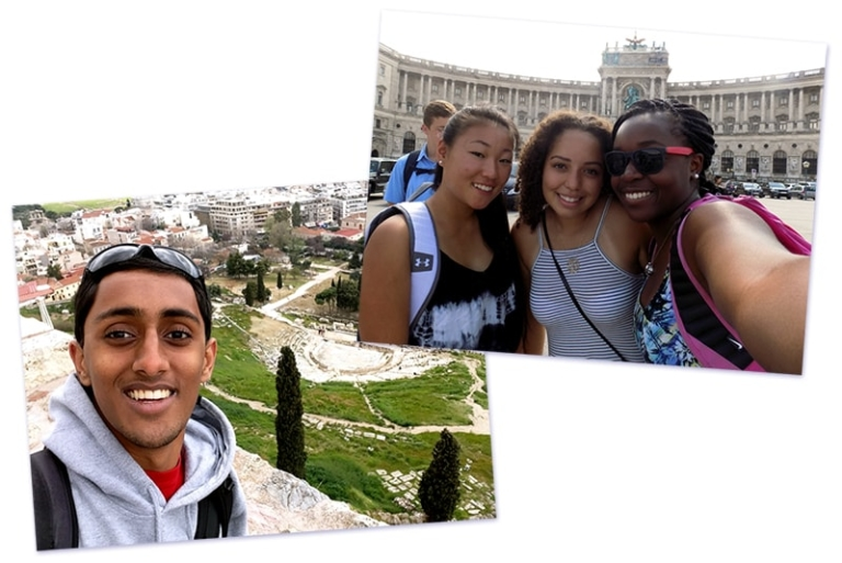 Collage of students taking selfies in front of landmarks