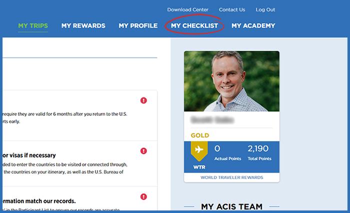 Screenshot of MyAccount checklist link