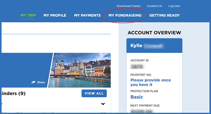 Screenshot of MyAccount fundraising link