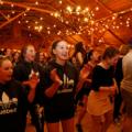 Students dancing at the Quebec Sugar Shack