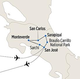 Map of Las Selvas de Costa Rica itinerary
