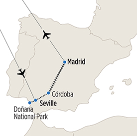 Map of Language Immersion in Spain itinerary