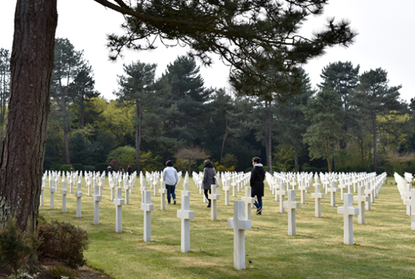 Students at the American Cemetery in Normandy