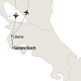 Map of Sámara Beach Spanish Language Study itinerary