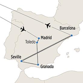 Map of Spanish Vistas itinerary