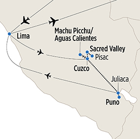 Map of The Inca Trail itinerary