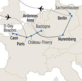 Map of European War History itinerary