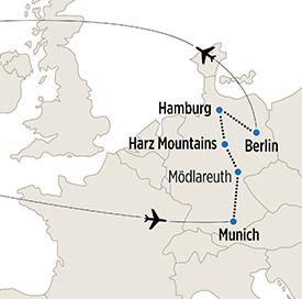 Map of Munich, Hamburg and Berlin itinerary