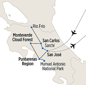 Map of Insider's Costa Rica itinerary