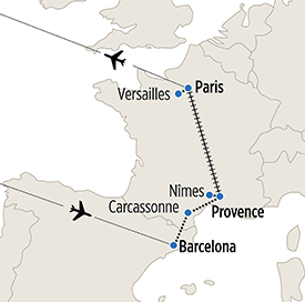 Map of Paris, Provence and Barcelona itinerary