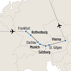 Map of Insider's Austria and Germany itinerary