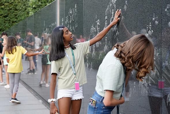 ACIS USA participants viewing the Korean War Memorial in Washington D.C.