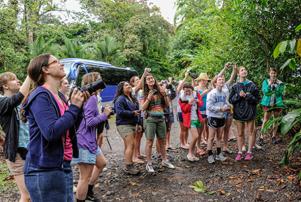 Student group taking photos in the jungles of Costa Rica