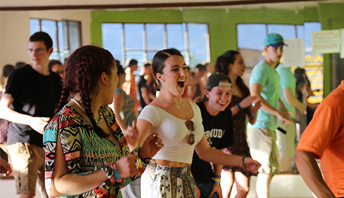 ACIS group learning dance moves in Costa Rica
