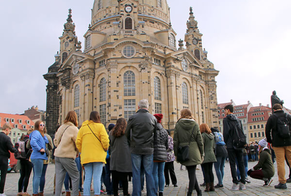 Students admire the architecture of Dresden