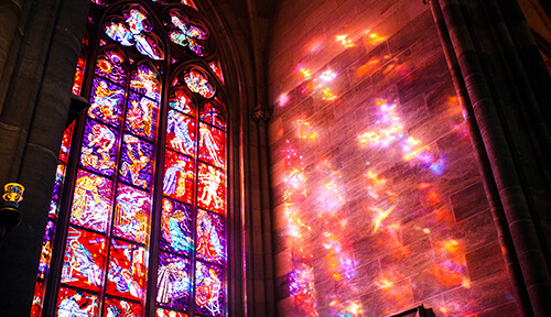 Stain glass window in Prague cathedral