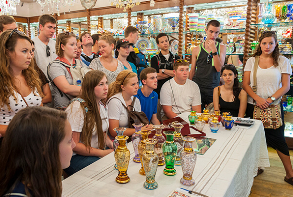 Group at Venice glass demonstration