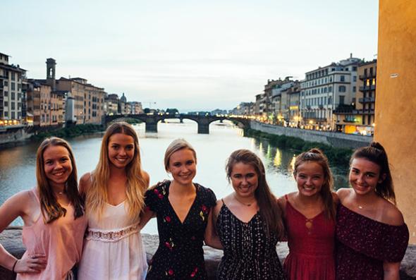 Group of girls on the Arno bridge