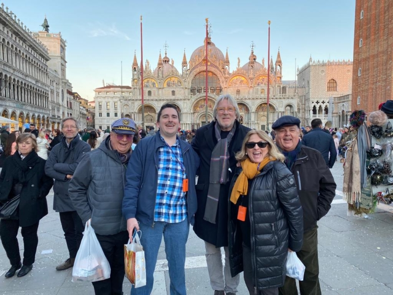 Peter and friends posing in the Piazza San Marco