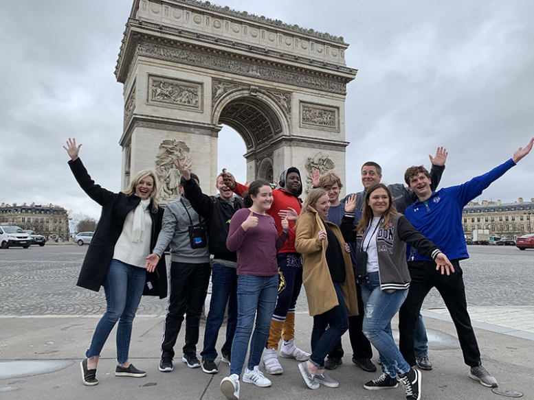 Tim's group in front of the Paris Arc de Triomphe