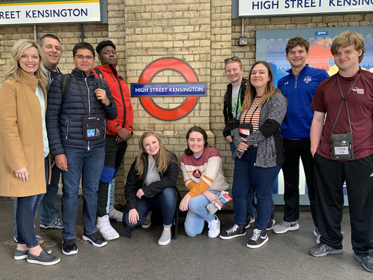 Tim and his group in the London Underground