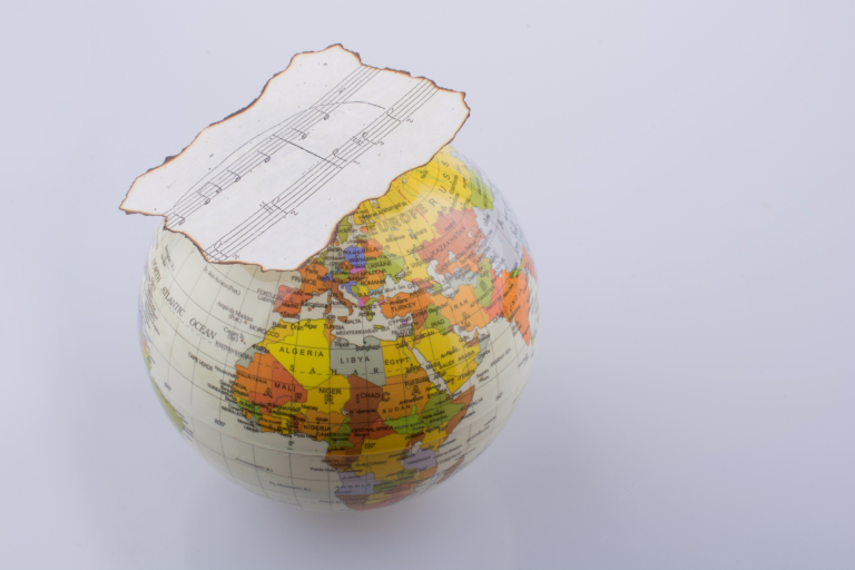Globe with Music Sheet