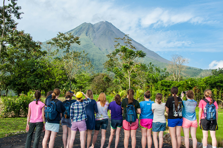 GIrls viewing the Arenal Volcano