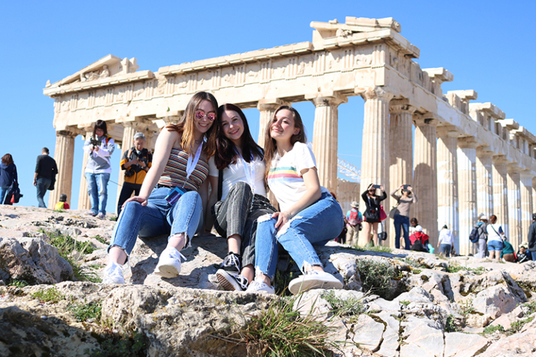 Students posed at the Acropolis