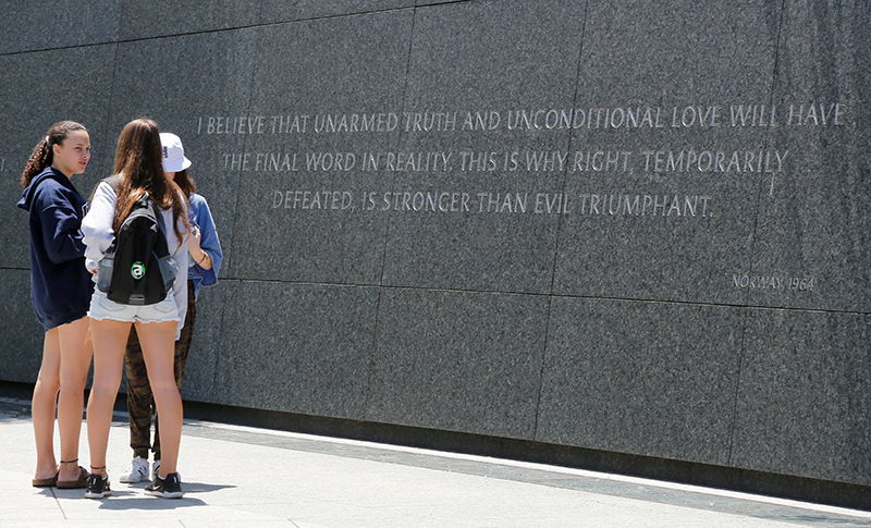 Students in Front of Martin Luther King Monument