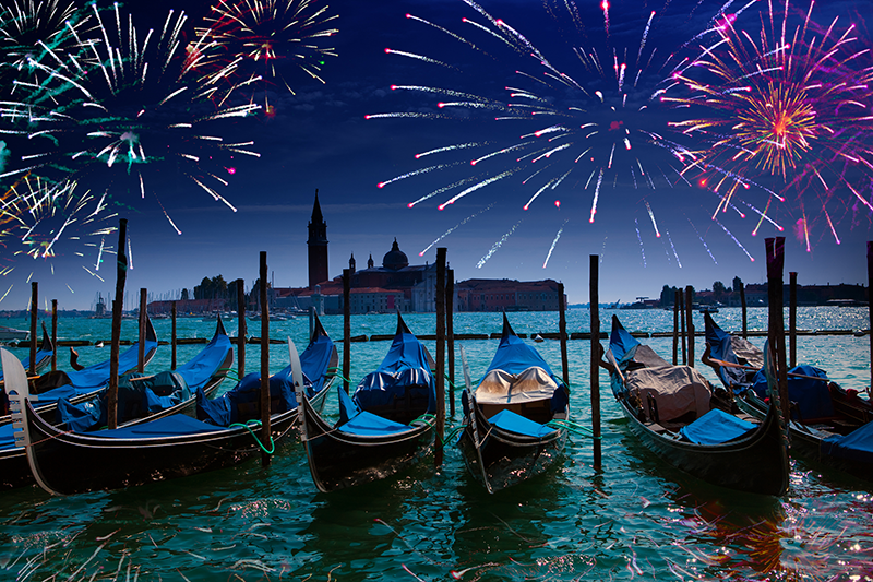 Venice Grand Canal at Night with Fireworks