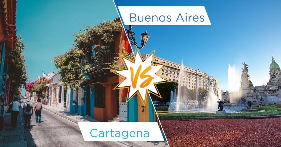 Cartagena street vs Buenos Aires fountain
