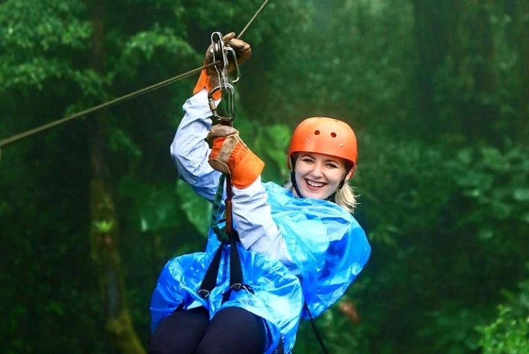 ACIS student ziplining in Costa Rica