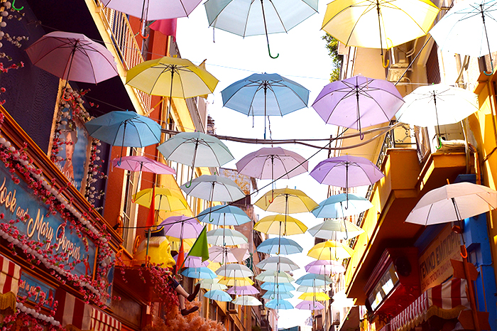 Hanging umbrellas in the arts district of Athens